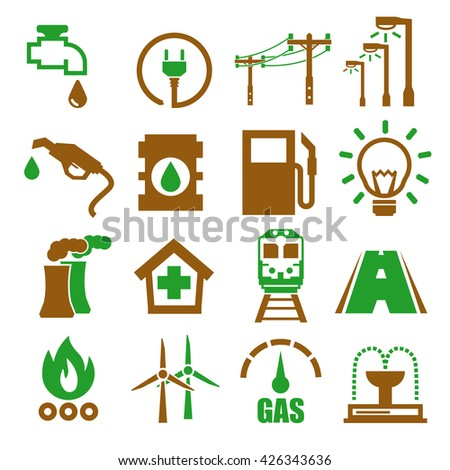 electricity, gas, water, public utility icon set - stock vector
