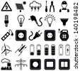 Electricity icon collection - vector silhouette illustration - stock photo