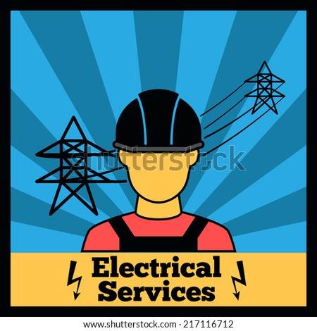 Electricity icon poster with electrician silhouette and power line vector illustration - stock vector