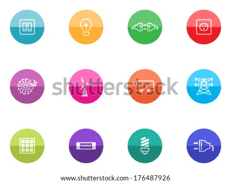 Electricity icon series in color circles.  - stock vector