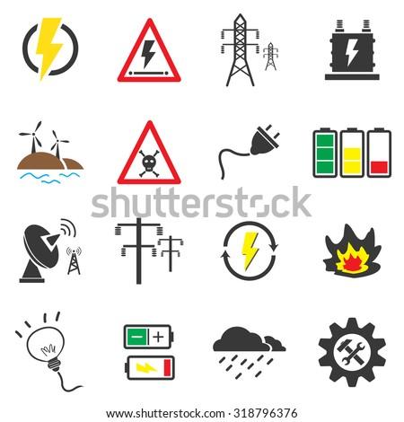 Electricity icon sets vector symbol. - stock vector