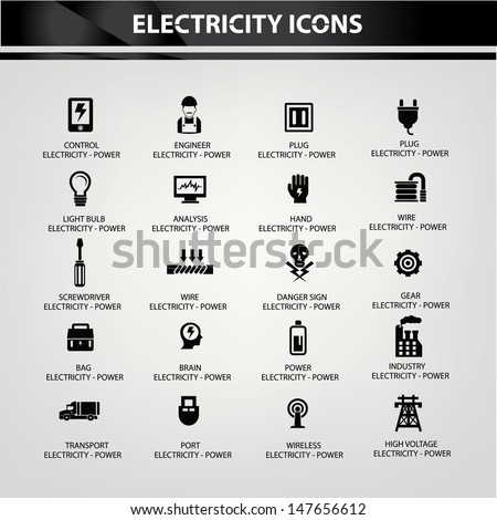 Electricity icons,Black version,vector - stock vector