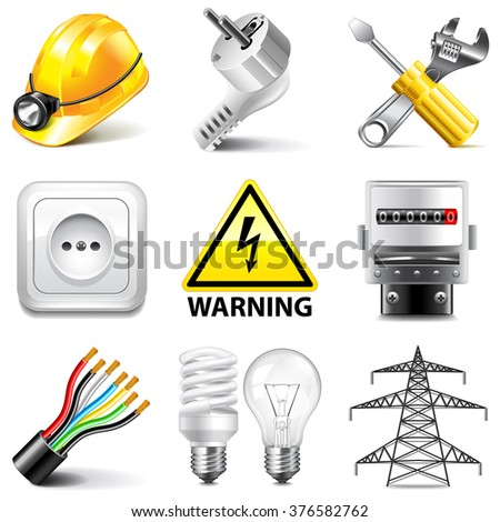 Electricity icons detailed photo realistic vector set - stock vector