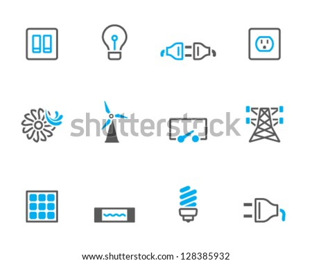 Electricity icons in duo tone colors - stock vector