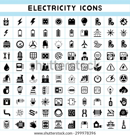 electricity icons set - stock vector