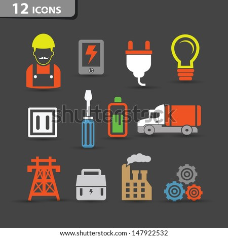 Electricity icons,vector - stock vector