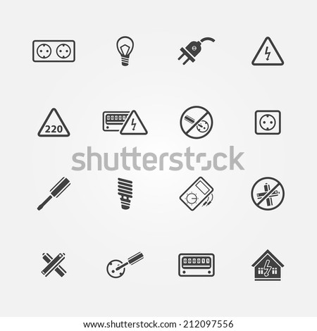 Electricity icons - vector set of home electricity symbols - stock vector