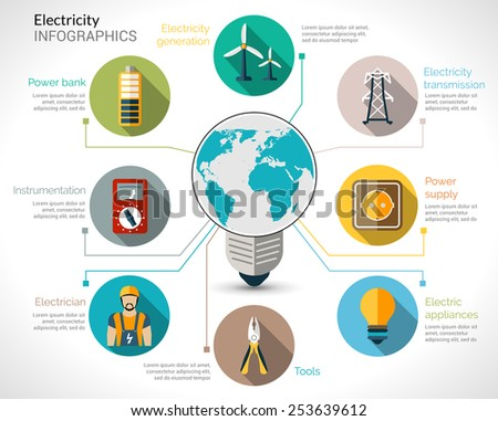Electricity infographics set with electric bulb energy generation equipment and transmission vector illustration - stock vector