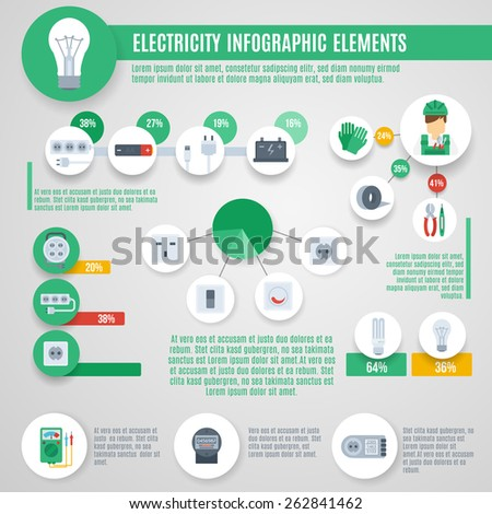 Electricity infographics set with professional electrician tools and charts vector illustration - stock vector