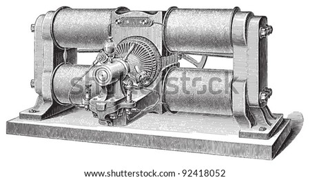 Electricity machine (dynamo electric) by Weston / vintage illustrations from Meyers Konversations-Lexikon 1897 - stock vector