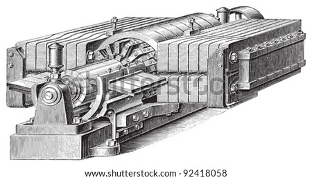 Electricity machine (dynamo electric) / vintage illustrations from Meyers Konversations-Lexikon 1897 - stock vector