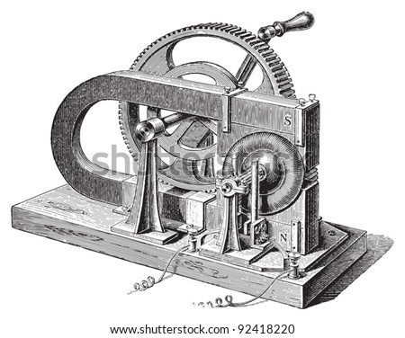 Electricity machine (magno electric) by Gramme / vintage illustrations from Meyers Konversations-Lexikon 1897 - stock vector