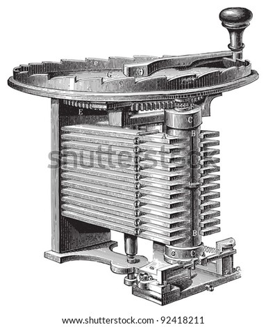 Electricity machine (magno electric) / vintage illustrations from Meyers Konversations-Lexikon 1897 - stock vector