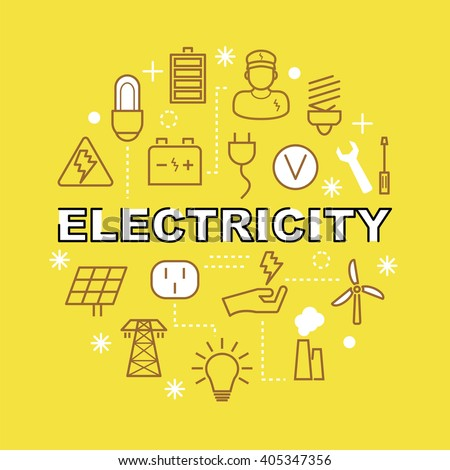 electricity minimal outline icons, vector pictogram set - stock vector