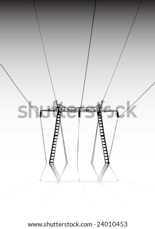 Electricity plant vector silhouette - Vector electric plant silhouette - stock vector