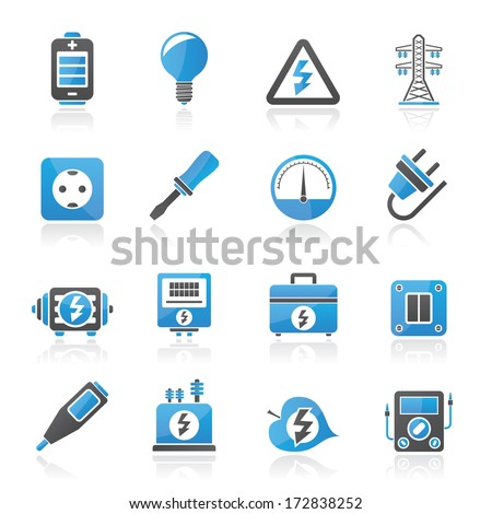 Electricity,power and energy icons - vector icon set - stock vector