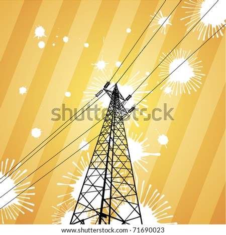 Electricity pylon in a splatter grunge view - stock vector
