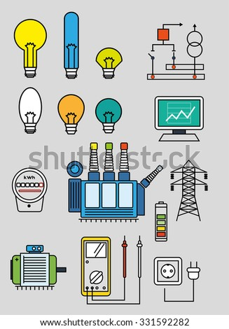 Electricity set of the flat line art  vector  illustration - stock vector