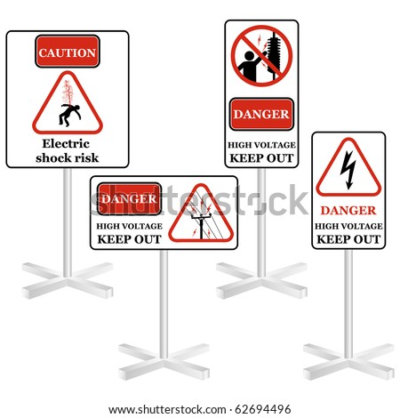Electricity sign set isolated on white vector - stock vector