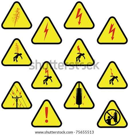 Electricity signs set isolated on white for your safety warning design.  Vector - stock vector