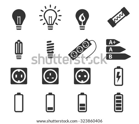 Electricity simply icons - stock vector
