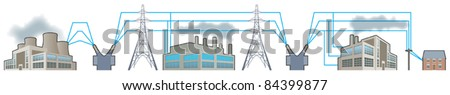 Electricity supplies_National grid - stock vector