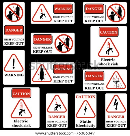 Electricity warning sign set. Vector - stock vector