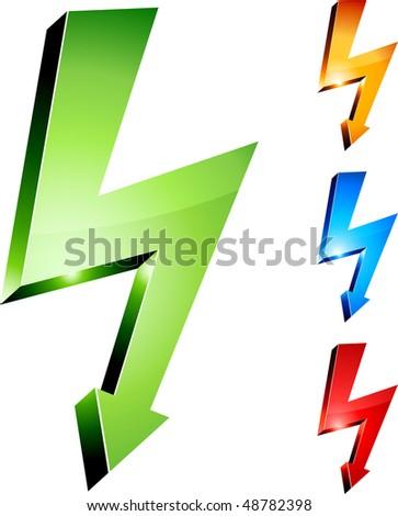 Electricity warning symbols. Vector illustration. - stock vector
