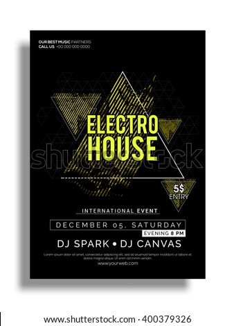 Electro House, Musical Party Template, Banner or Flyer design with date and time details. - stock vector