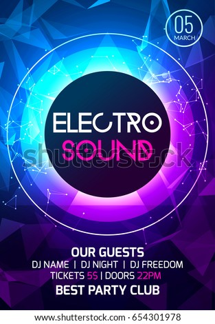 Electro Sound Party Music Poster Electronic Stock Vector 654301978