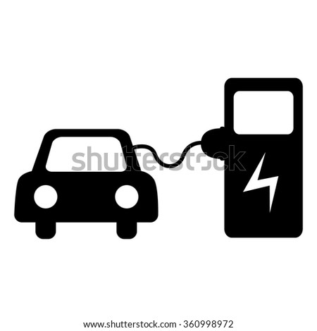 Electrocar battery charging icon. Isolated on white background - stock vector