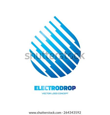 Electrodrop - vector logo concept illustration. Abstract water drop logo. Vector logo template. Design element.  - stock vector