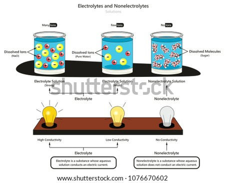 Electrolyte Nonelectrolyte Solutions Infographic Diagram Showing