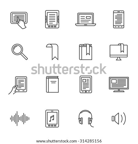Electronic and audio book icons. Outlined electronic devices icons. Linear style