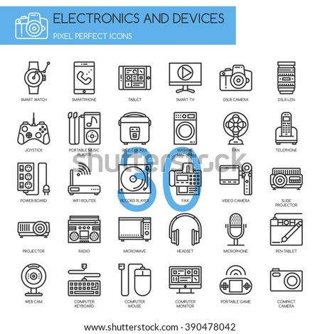Electronic and Devices , thin line icons set ,pixel perfect icons - stock vector