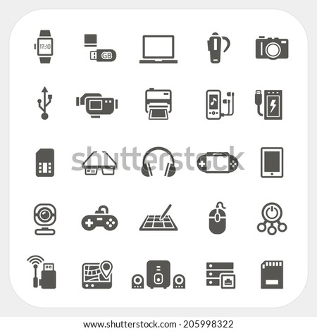 Electronic and gadget icons set - stock vector
