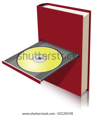 Electronic book concept as a combination of paper book and disk drive (vector) - stock vector