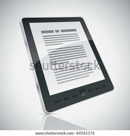 Electronic book (e-book) reader. 3d vector illustration. - stock vector