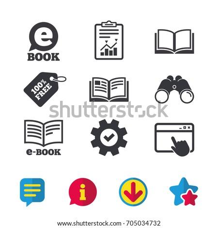 Electronic Book Icons E Book Symbols Speech Stock Vector 705034732 ...