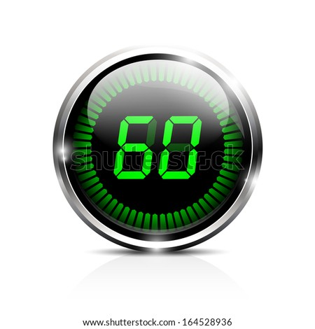 Electronic brilliant timer 60 seconds - stock vector