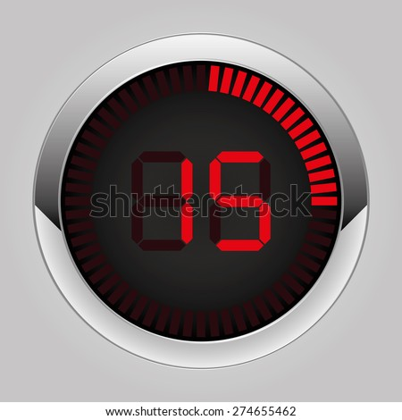 Electronic brilliant timer 15 seconds - stock vector