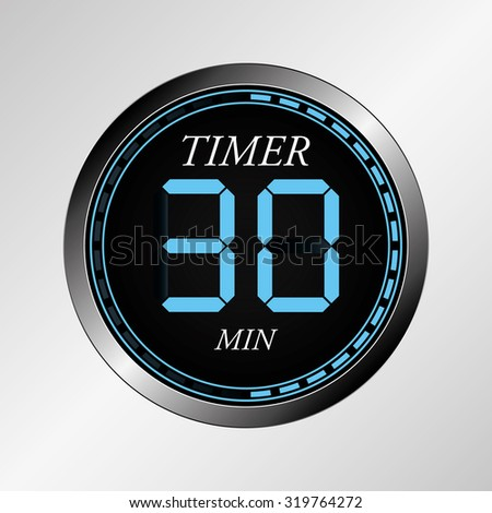 Electronic brilliant timer 30 seconds - stock vector