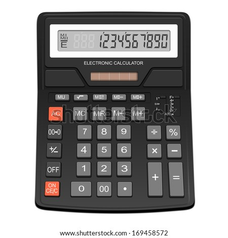 Electronic calculator - isolated on white background. Photo-realistic vector. - stock vector