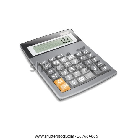 Electronic calculator on white background. Vector. - stock vector