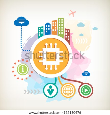 Electronic chip and city on abstract colorful watercolor background with different icon and elements. Design for the print, advertising, banner. - stock vector