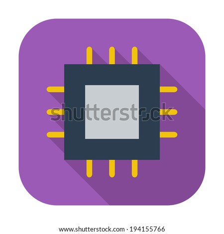 Electronic chip. Single flat color icon. Vector illustration. - stock vector