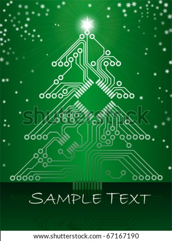 Electronic Circuit Christmas Tree - stock vector