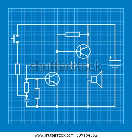 Electronic Circuit Scheme Blueprint Background Stock Vector HD ...