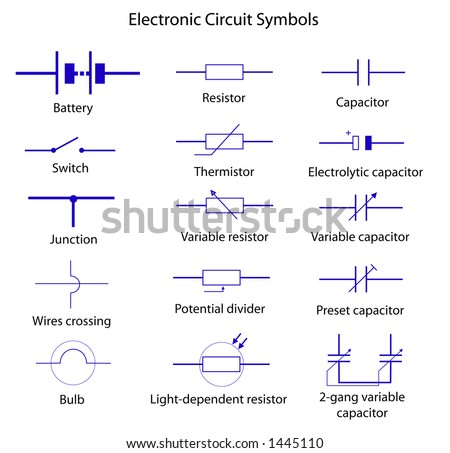 Electronic Circuit Symbols Stock Vector 1445110 - Shutterstock