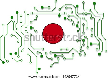 electronic circuits and red button  - stock vector